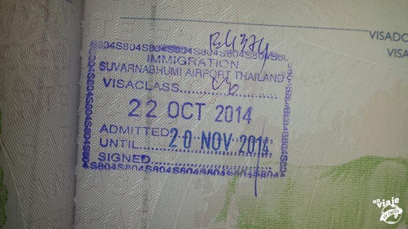 Visado en el pasaporte a la llegada a Bangkok.