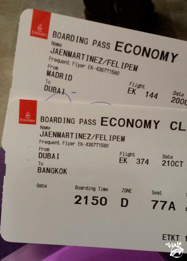 Billete de Emirates Airlines de Madrid a Bangkok