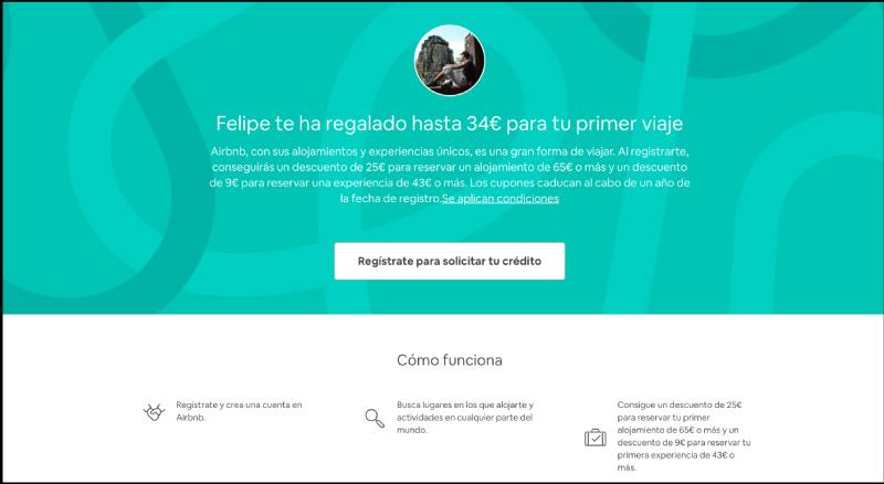 Registro airbnb, descuento de 34€.