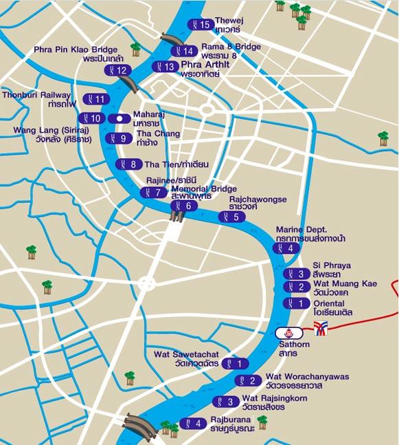 mapa transporte publico en barco, Bangkok, Tailandia