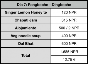 Tabla con precios del trekking al campo base del everest, Nepal.